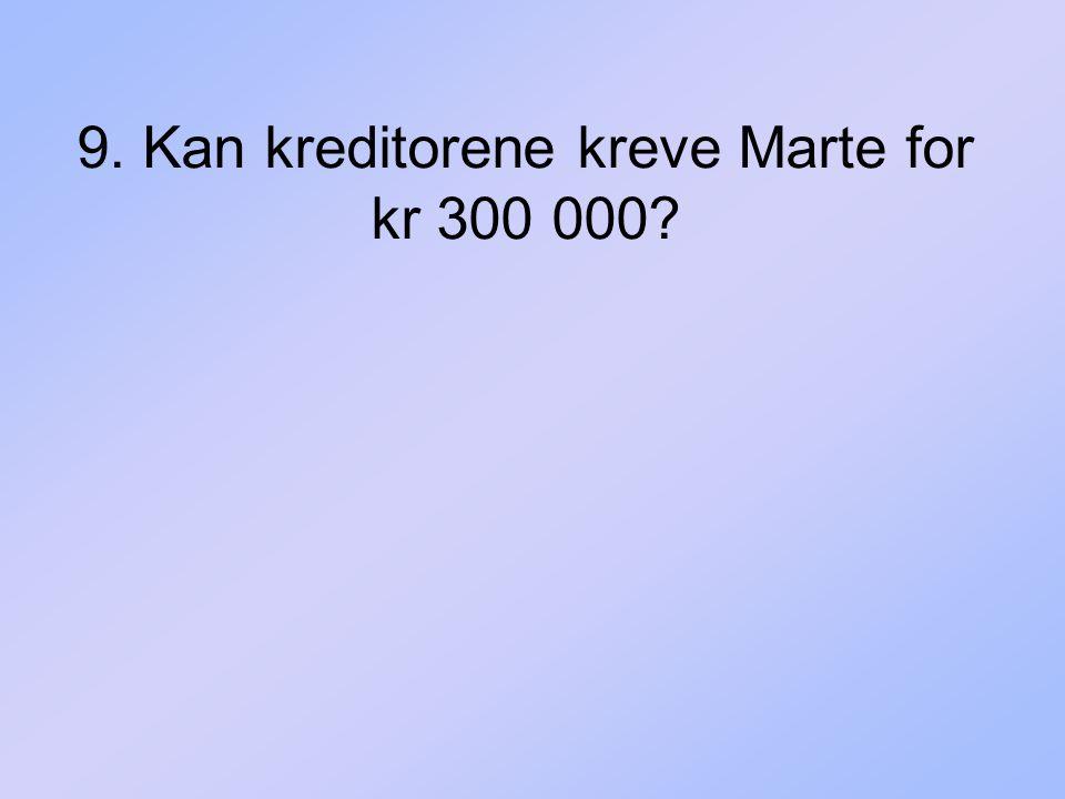 9. Kan kreditorene kreve Marte for kr 300 000?