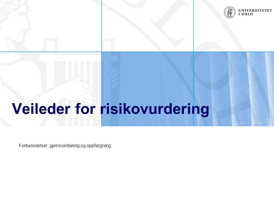 Prosess for risikokartlegging Oppfølgning Workshop Forarbeid Utvikling av tiltak Evaluering av resultater Prioritering av risiko Definering av risiko Identifisering av risiko Handlingsplan Gjennomgang av virksomhetens målsetninger og identifisering av risiko En aktivitet eller hendelse som kan påvirke virksomhetens måloppnåelse For den enkelte risiko vurderes sannsynlighet og konsekvens, samt etablering av risikokart Gjennomgang og diskusjon av risikohåndtering i ledergruppen med fokus på hvor effektiv håndteringer er i dag og hvor effektiv den bør være Tiltak og mulige løsninger Utarbeidelse av handlingsplan med risikoeier ansvarlig for gjennomføring og tidsfrister