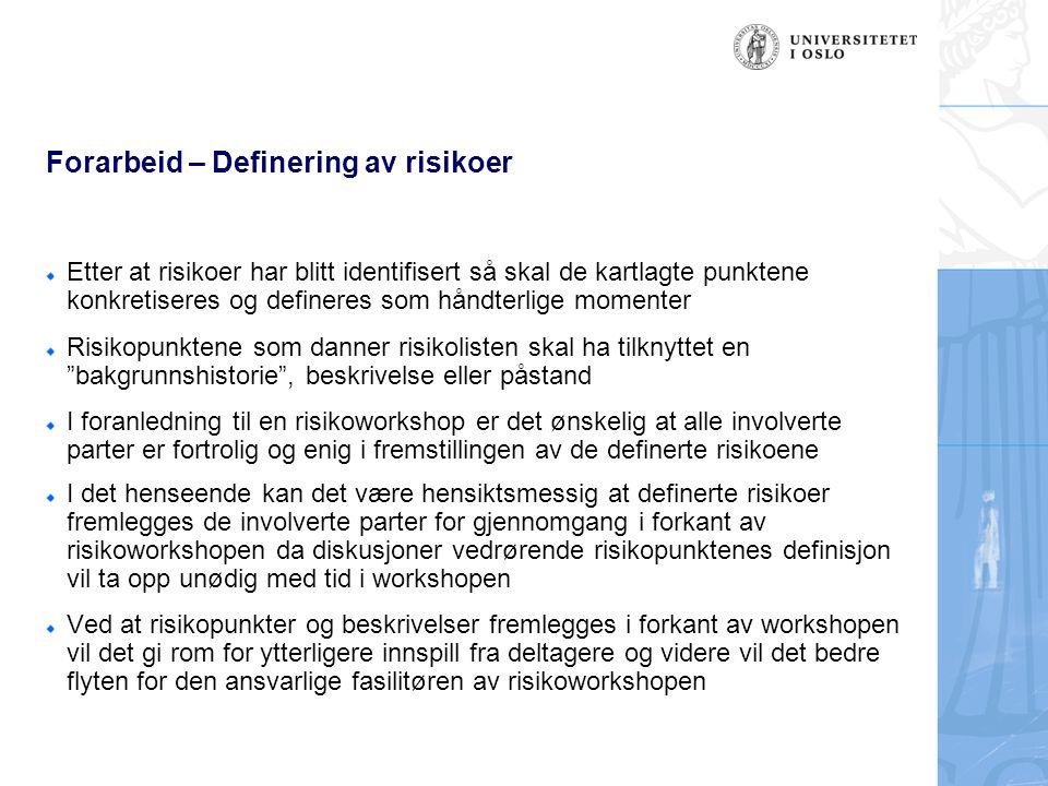 Forarbeid – Definering av risikoer Etter at risikoer har blitt identifisert så skal de kartlagte punktene konkretiseres og defineres som håndterlige m