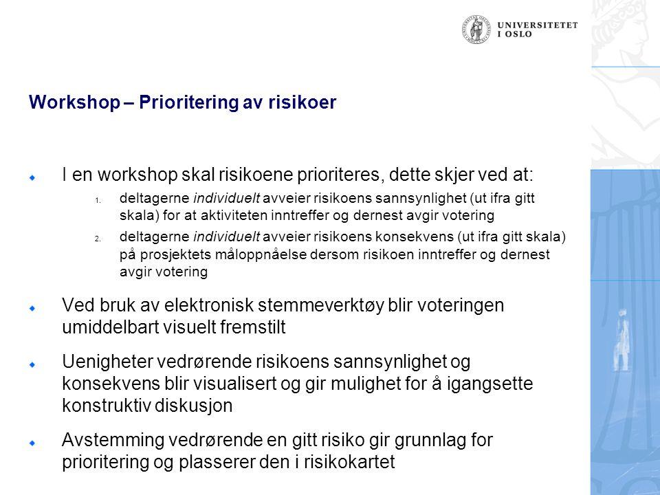 Workshop – Evaluering av resultater Ved endt seanse vil prioriteringen av risikolisten være komplett og ett risikobilde vil fremstå som resultat, som vist i kartet til høyre Risikopunktene som er prioritert i øvre/høyre kvadrant er vurdert som høy i sannsynlighet og høy i konsekvens Disse risikoene bør ha første prioritet i en videre utarbeidelse av tiltak og handlingsplan Konsekvens Høy Lav Høy Risikokart 6 1720 16 22 15 12 7 2113 14 8 10 19 2 9 1 3 4 18 11 Sannsynlighet