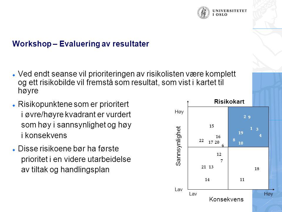 Workshop – Evaluering av resultater Ved endt seanse vil prioriteringen av risikolisten være komplett og ett risikobilde vil fremstå som resultat, som