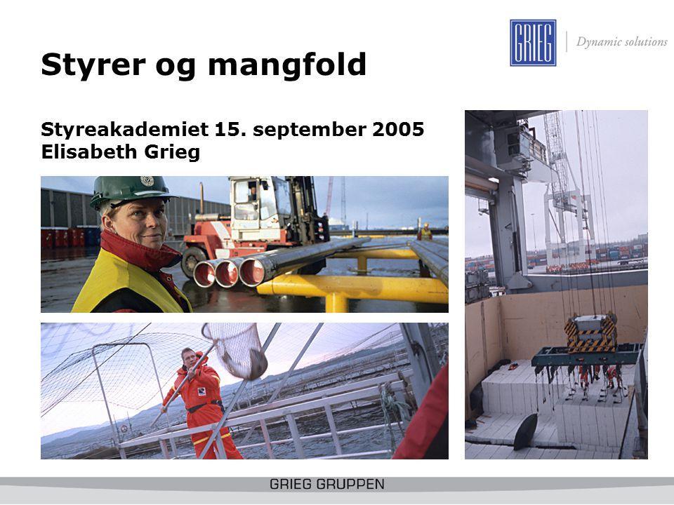 Styrer og mangfold Styreakademiet 15. september 2005 Elisabeth Grieg