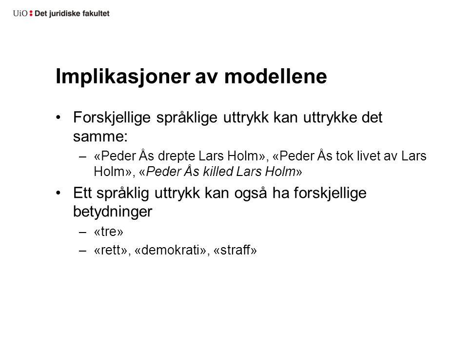 Implikasjoner av modellene Forskjellige språklige uttrykk kan uttrykke det samme: –«Peder Ås drepte Lars Holm», «Peder Ås tok livet av Lars Holm», «Pe