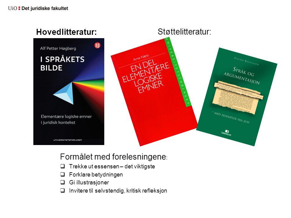 Hovedlitteratur: Formålet med forelesningene :  Trekke ut essensen – det viktigste  Forklare betydningen  Gi illustrasjoner  Invitere til selvsten