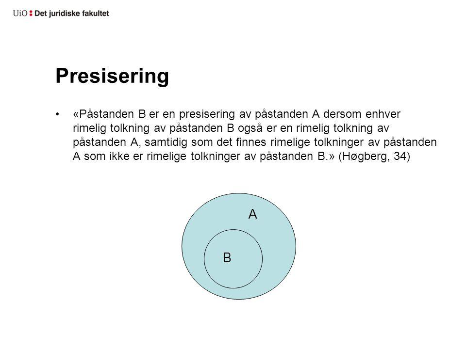 Presisering «Påstanden B er en presisering av påstanden A dersom enhver rimelig tolkning av påstanden B også er en rimelig tolkning av påstanden A, sa