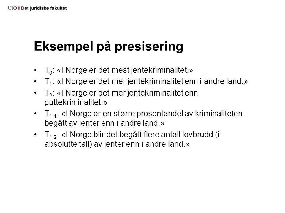 Eksempel på presisering T 0 : «I Norge er det mest jentekriminalitet.» T 1 : «I Norge er det mer jentekriminalitet enn i andre land.» T 2 : «I Norge e