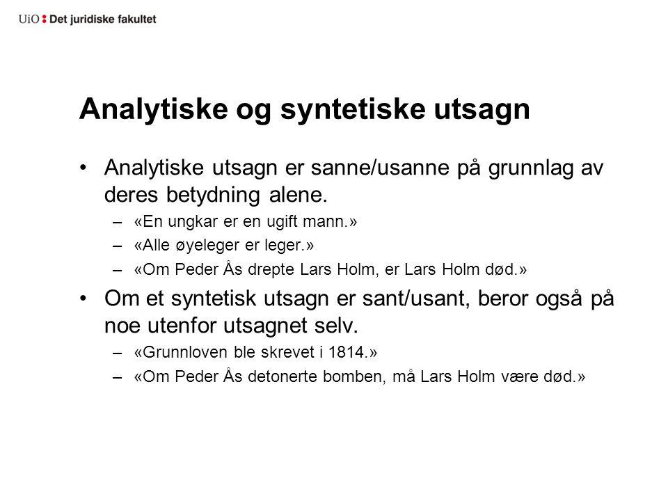 Analytiske og syntetiske utsagn Analytiske utsagn er sanne/usanne på grunnlag av deres betydning alene. –«En ungkar er en ugift mann.» –«Alle øyeleger