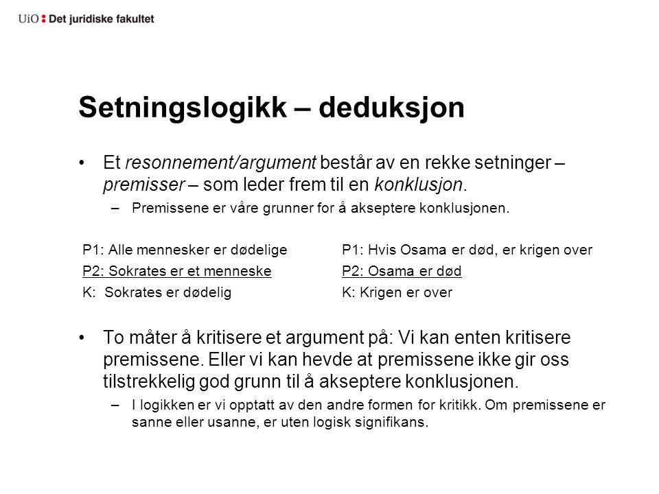 Setningslogikk – deduksjon Et resonnement/argument består av en rekke setninger – premisser – som leder frem til en konklusjon. –Premissene er våre gr