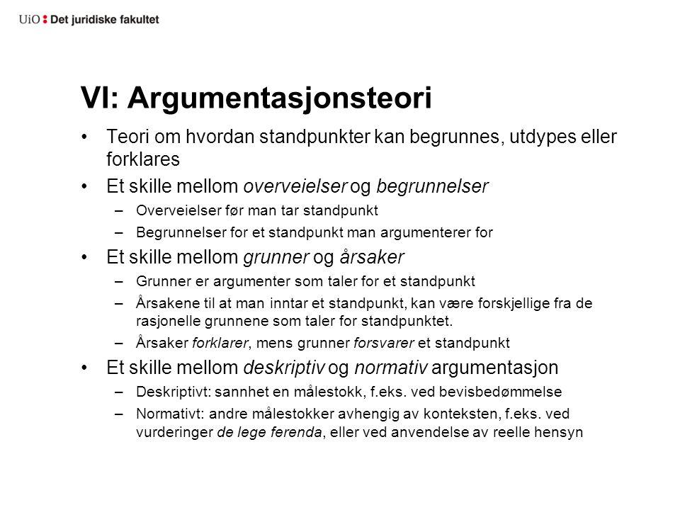 VI: Argumentasjonsteori Teori om hvordan standpunkter kan begrunnes, utdypes eller forklares Et skille mellom overveielser og begrunnelser –Overveiels