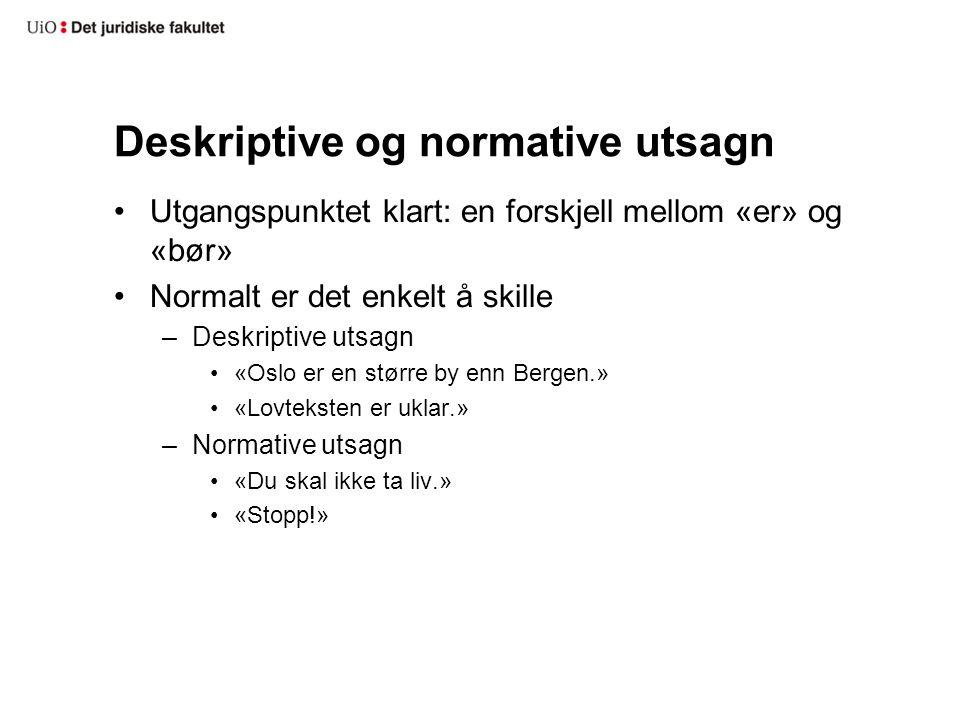 Deskriptive og normative utsagn Utgangspunktet klart: en forskjell mellom «er» og «bør» Normalt er det enkelt å skille –Deskriptive utsagn «Oslo er en