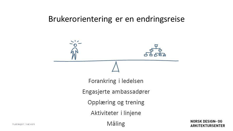 Brukerorientering er en endringsreise Forankring i ledelsen Engasjerte ambassadører Opplæring og trening Aktiviteter i linjene Måling Illustrasjon: li