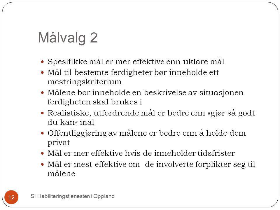 Målvalg 2 SI Habiliteringstjenesten i Oppland 12 Spesifikke mål er mer effektive enn uklare mål Mål til bestemte ferdigheter bør inneholde ett mestrin