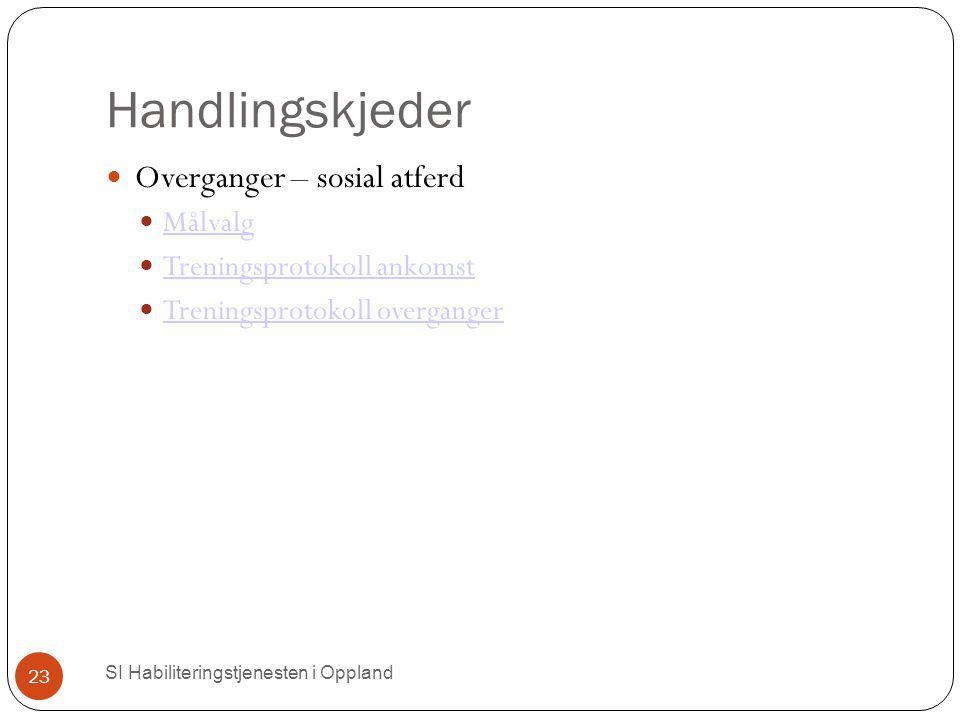 Handlingskjeder SI Habiliteringstjenesten i Oppland 23 Overganger – sosial atferd Målvalg Treningsprotokoll ankomst Treningsprotokoll overganger