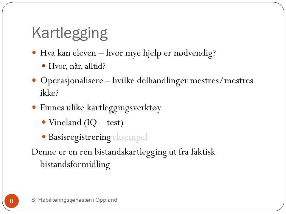 Kartlegging SI Habiliteringstjenesten i Oppland 8 Hva kan eleven – hvor mye hjelp er nødvendig? Hvor, når, alltid? Operasjonalisere – hvilke delhandli