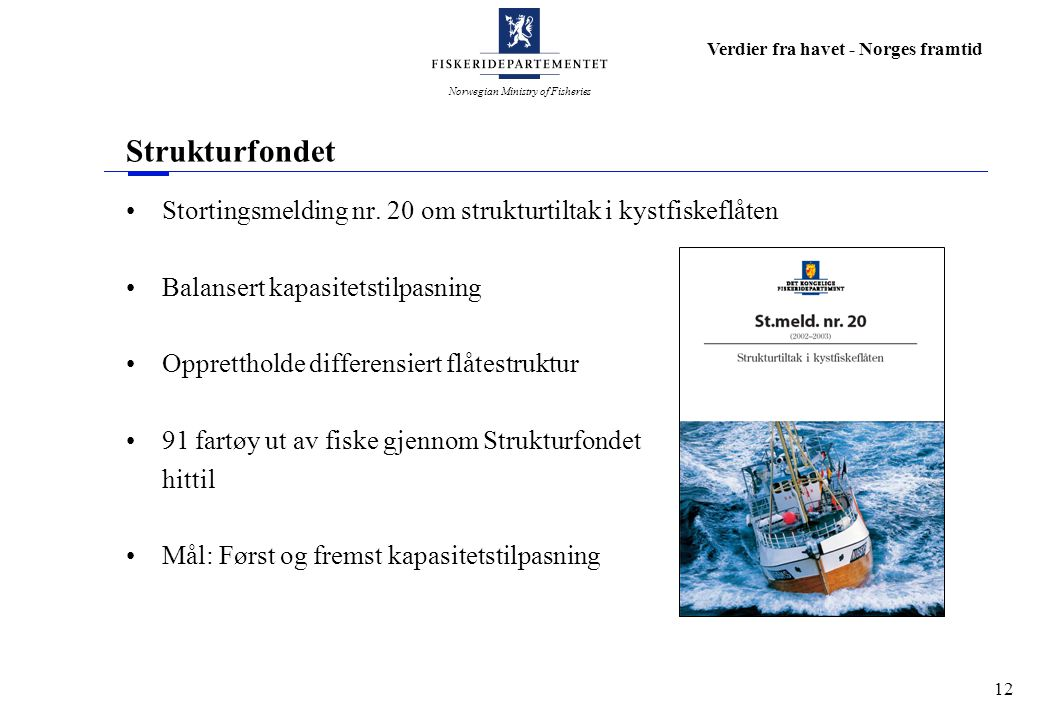 Norwegian Ministry of Fisheries Verdier fra havet - Norges framtid 12 Strukturfondet Stortingsmelding nr. 20 om strukturtiltak i kystfiskeflåten Balan