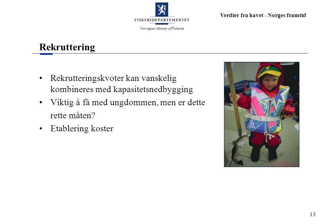 Norwegian Ministry of Fisheries Verdier fra havet - Norges framtid 13 Rekruttering Rekrutteringskvoter kan vanskelig kombineres med kapasitetsnedbyggi
