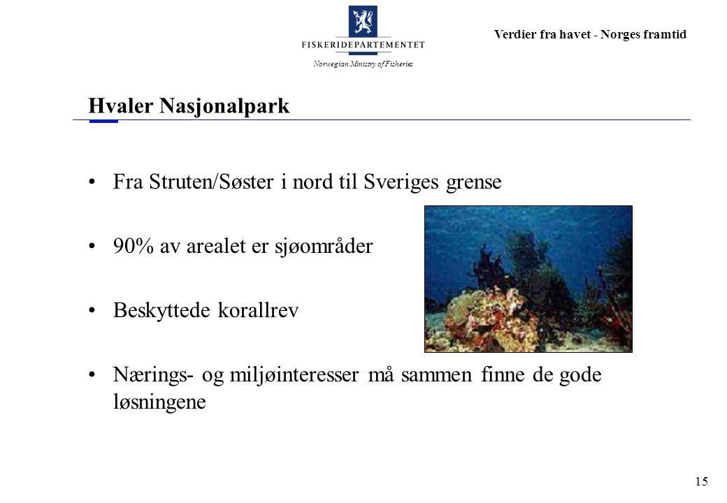 Norwegian Ministry of Fisheries Verdier fra havet - Norges framtid 15 Hvaler Nasjonalpark Fra Struten/Søster i nord til Sveriges grense 90% av arealet
