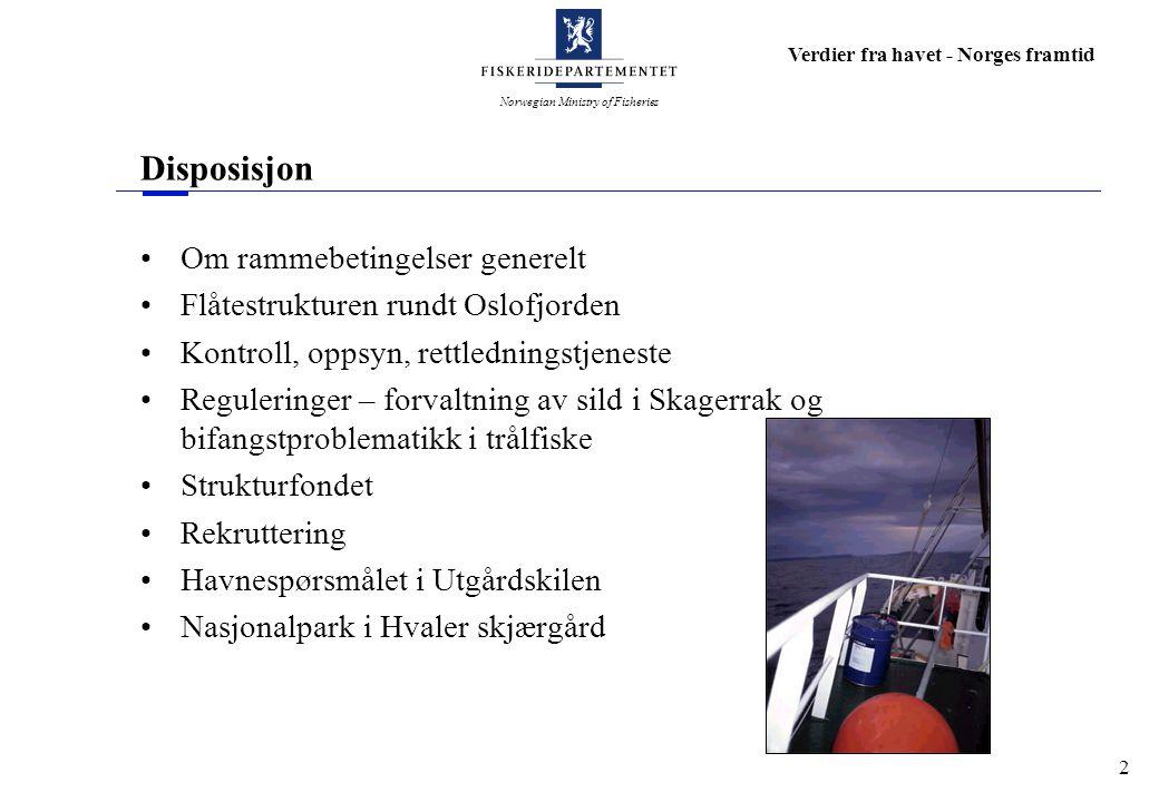 Norwegian Ministry of Fisheries Verdier fra havet - Norges framtid 3 Om rammebetingelser generelt Økt lønnsomhet i hele verdikjeden - fra fjord til bord Økt lønnsomhet krever gode rammebetingelser Forvaltning må utformes slik at den fremmer næringsutvikling RÅSTOFF INDUSTRI MARKED