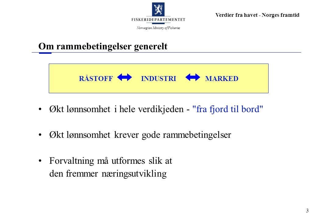 Norwegian Ministry of Fisheries Verdier fra havet - Norges framtid 4 Om rammebetingelser generelt Økt lønnsomhet i hele verdikjeden - fra fjord til bord Økt lønnsomhet krever gode rammebetingelser Forvaltning må utformes slik at den fremmer næringsutvikling 2003 2,5 millioner tonn fisk og skalldyr Verdi: 8,5 milliarder kroner Nedgang på 9% i fangstmengde Nedgang på 24% i verdi Eksporten økte i volum med 1,8 % Eksportverdien falt med 8,5 %