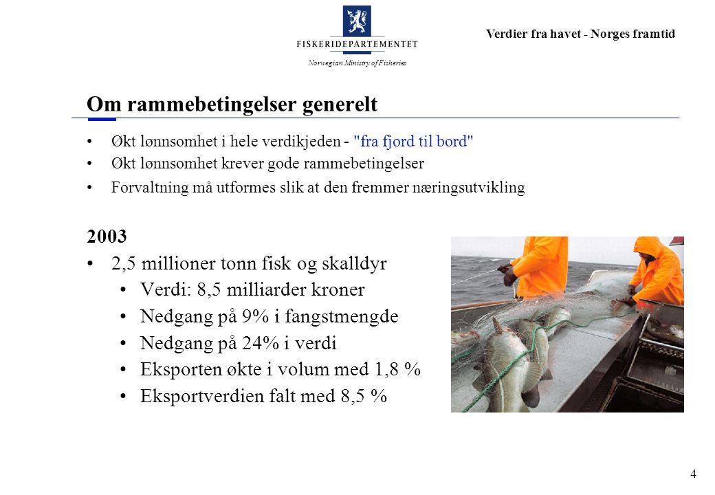 Norwegian Ministry of Fisheries Verdier fra havet - Norges framtid 5 Flåtestrukturen i Oslofjorden – Del 1 Som ellers i landet; stadig færre fartøy Ved utgangen av 2003: 271 fiskefartøy 2,7 % av landets fiskeflåte Gjennomsnittsalder på fartøyene 22,5 år Gjennomsnittlig driftsmargin i 2002 var ca 6,5 % mot 12,8 % på landsbasis