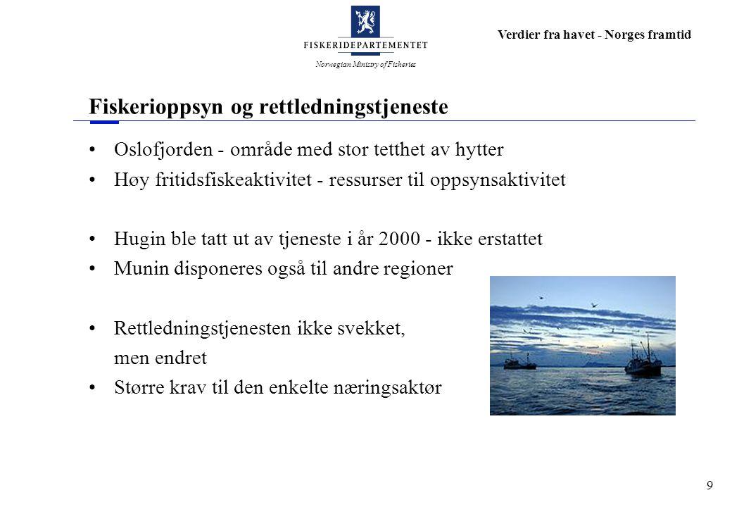 Norwegian Ministry of Fisheries Verdier fra havet - Norges framtid 9 Fiskerioppsyn og rettledningstjeneste Oslofjorden - område med stor tetthet av hy