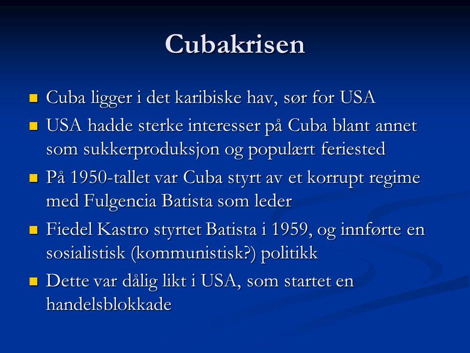 Cubakrisen Cuba ligger i det karibiske hav, sør for USA Cuba ligger i det karibiske hav, sør for USA USA hadde sterke interesser på Cuba blant annet s