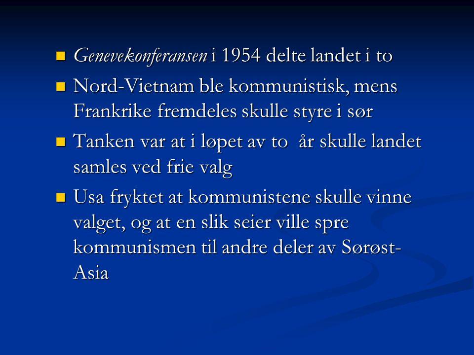 Genevekonferansen i 1954 delte landet i to Genevekonferansen i 1954 delte landet i to Nord-Vietnam ble kommunistisk, mens Frankrike fremdeles skulle s