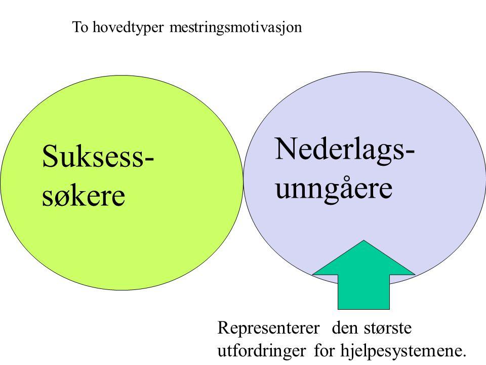 Suksess- søkere Nederlags- unngåere To hovedtyper mestringsmotivasjon Representerer den største utfordringer for hjelpesystemene.