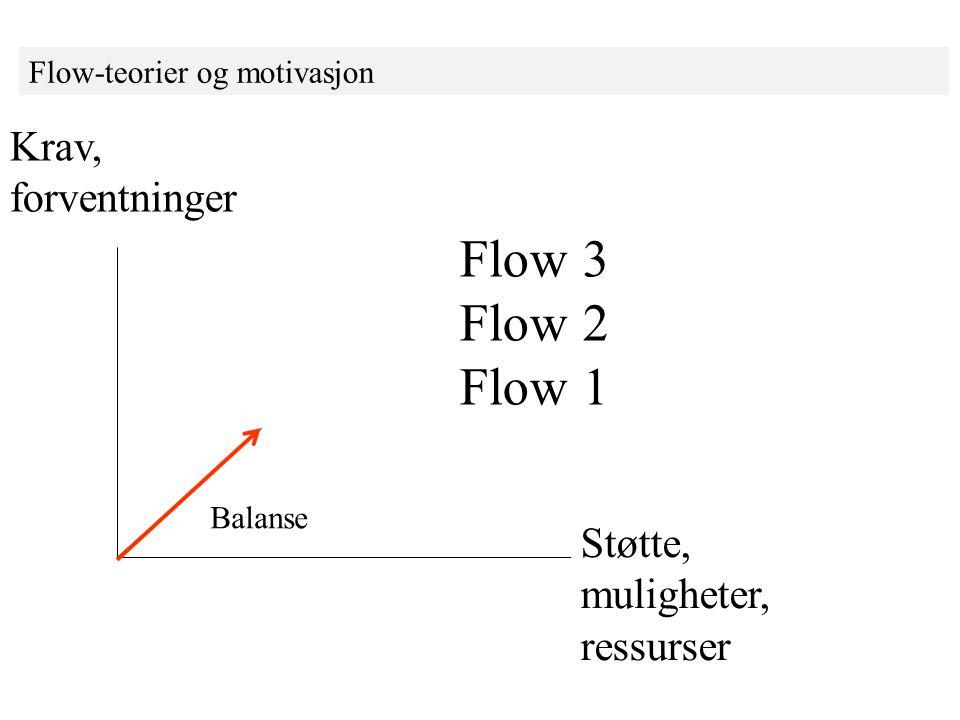 Flow-teorier og motivasjon Krav, forventninger Støtte, muligheter, ressurser Balanse Flow 3 Flow 2 Flow 1