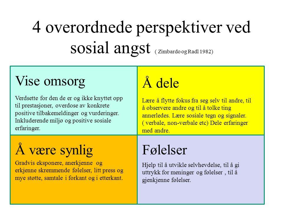4 overordnede perspektiver ved sosial angst ( Zimbardo og Radl 1982) Vise omsorg Verdsette for den de er og ikke knyttet opp til prestasjoner, overdos