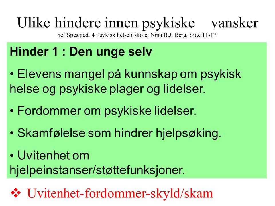 Ulike hindere innen psykiske vansker ref Spes.ped. 4 Psykisk helse i skole, Nina B.J. Berg. Side 11-17 Hinder 1 : Den unge selv Elevens mangel på kunn