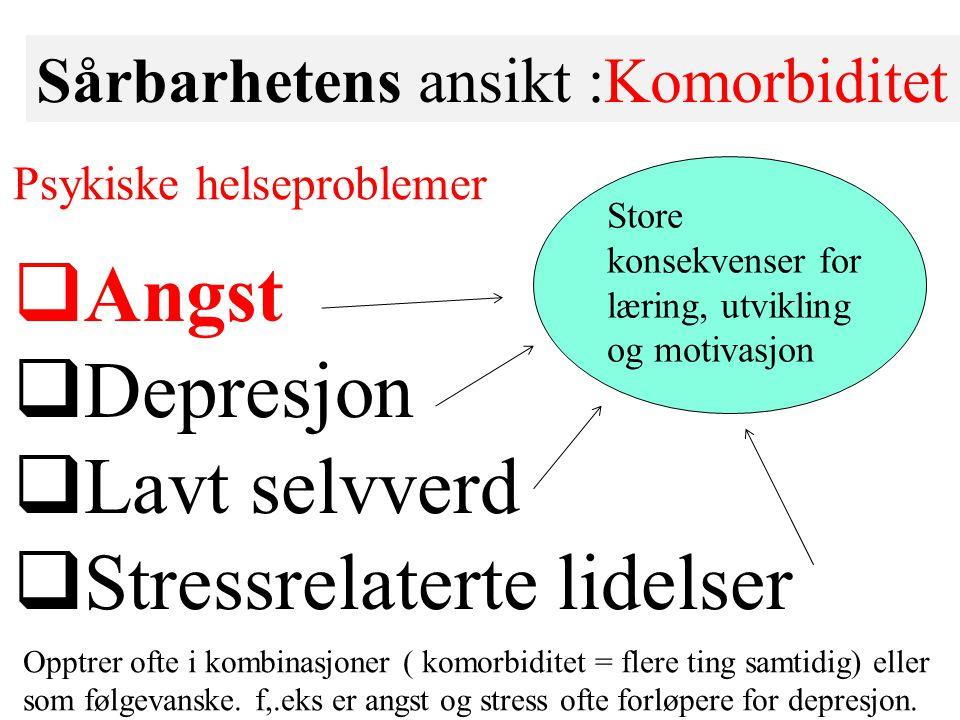 Sårbarhetens ansikt :Komorbiditet  Angst  Depresjon  Lavt selvverd  Stressrelaterte lidelser Store konsekvenser for læring, utvikling og motivasjo