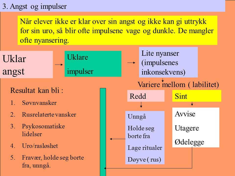 3. Angst og impulser Uklar angst Uklare impulser Lite nyanser (impulsenes inkonsekvens) ReddSint Unngå Holde seg borte fra Lage ritualer Døyve ( rus)