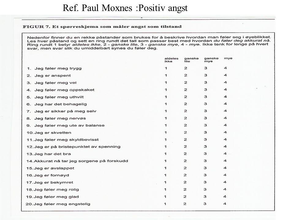 Ref. Paul Moxnes :Positiv angst