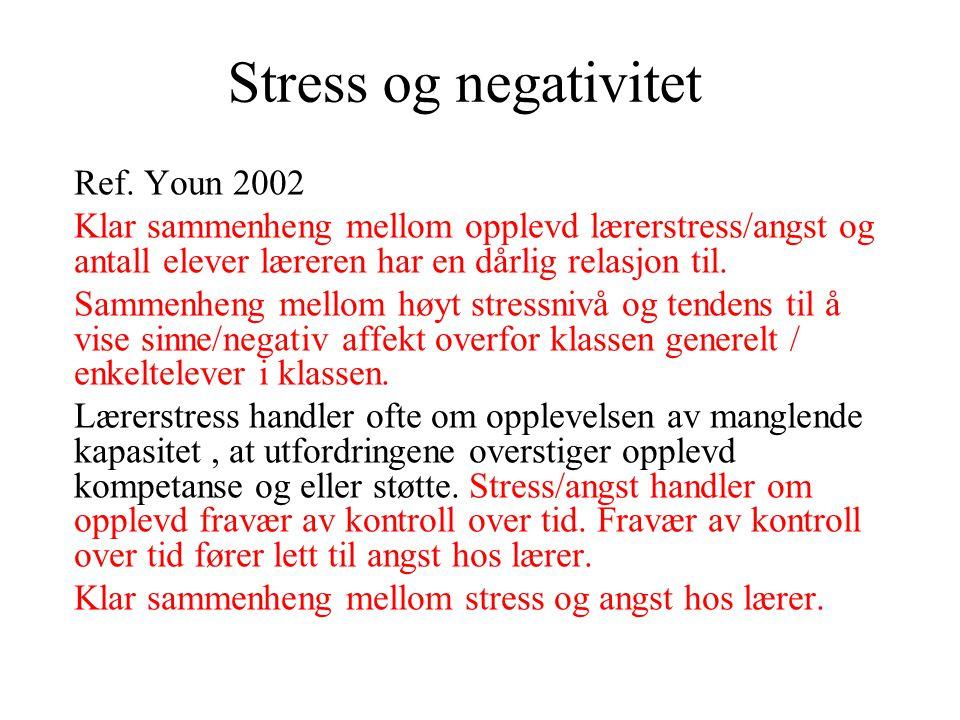 Stress og negativitet Ref. Youn 2002 Klar sammenheng mellom opplevd lærerstress/angst og antall elever læreren har en dårlig relasjon til. Sammenheng