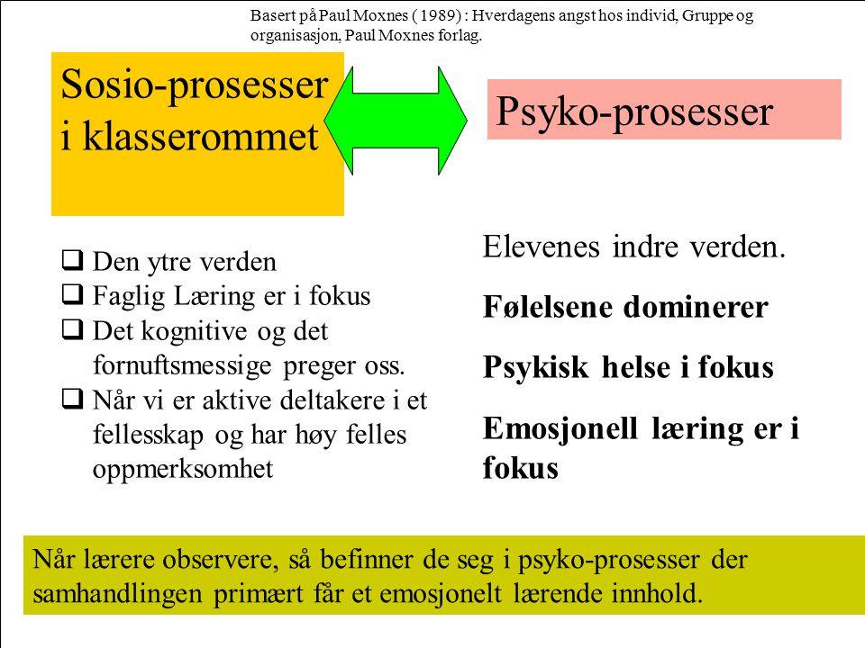 Sosio-prosesser i klasserommet Elevenes indre verden. Følelsene dominerer Psykisk helse i fokus Emosjonell læring er i fokus Psyko-prosesser Når lærer