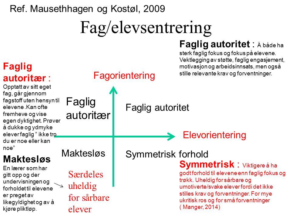 Fag/elevsentrering Ref. Mausethhagen og Kostøl, 2009 Fagorientering Elevorientering Faglig autoritet Symmetrisk forhold Faglig autoritær Maktesløs Fag