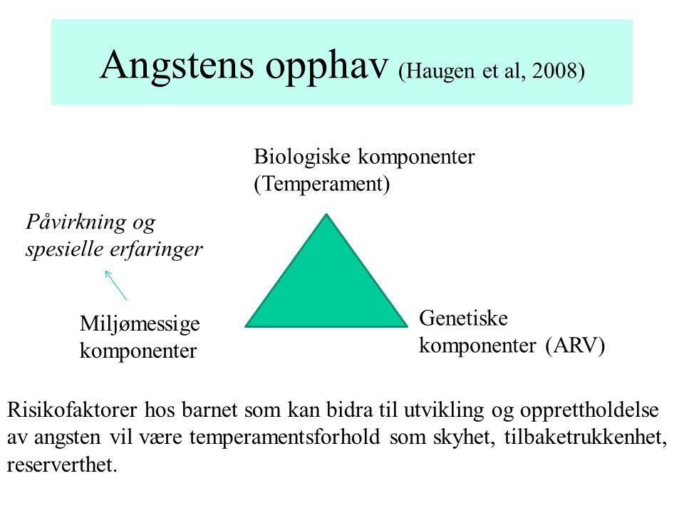 Angstens opphav (Haugen et al, 2008) Biologiske komponenter (Temperament) Genetiske komponenter (ARV) Miljømessige komponenter Risikofaktorer hos barn