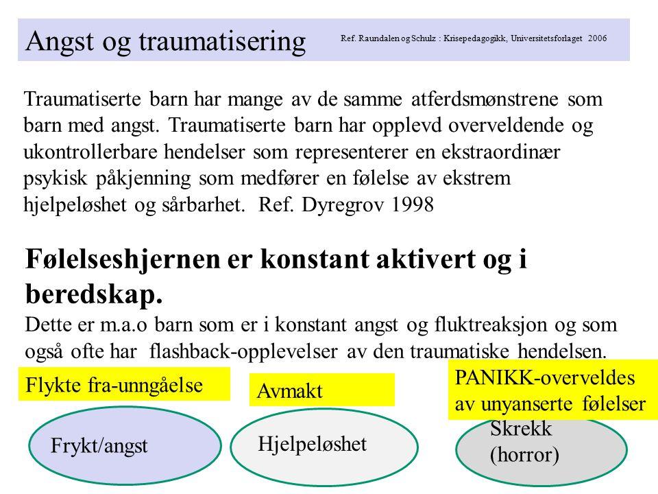 Angst og traumatisering Ref. Raundalen og Schulz : Krisepedagogikk, Universitetsforlaget 2006 Traumatiserte barn har mange av de samme atferdsmønstren