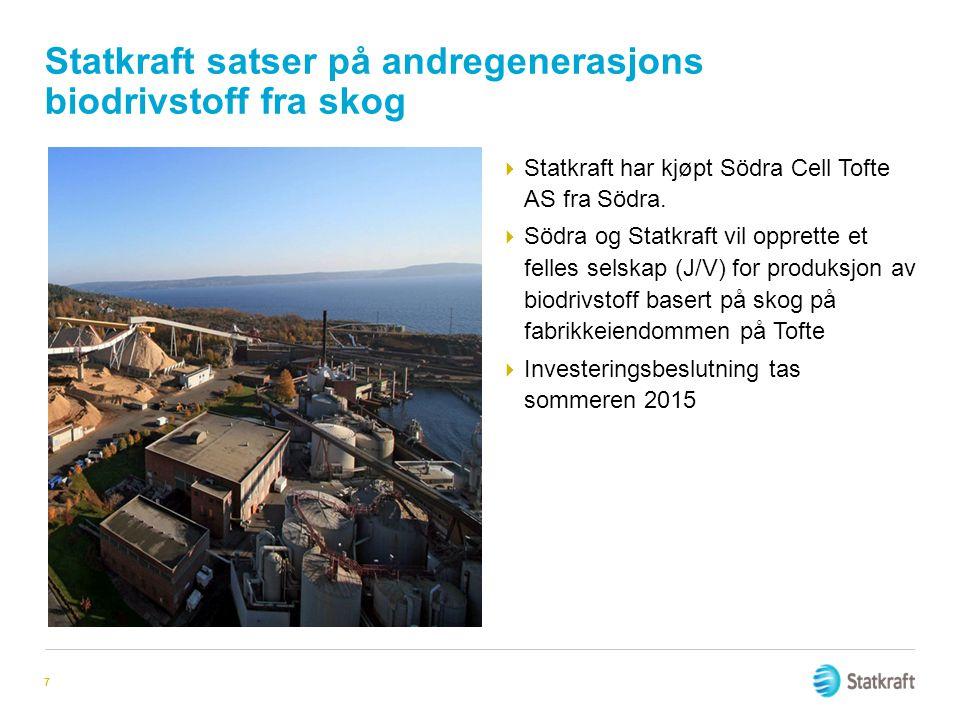 Statkraft satser på andregenerasjons biodrivstoff fra skog  Statkraft har kjøpt Södra Cell Tofte AS fra Södra.  Södra og Statkraft vil opprette et f