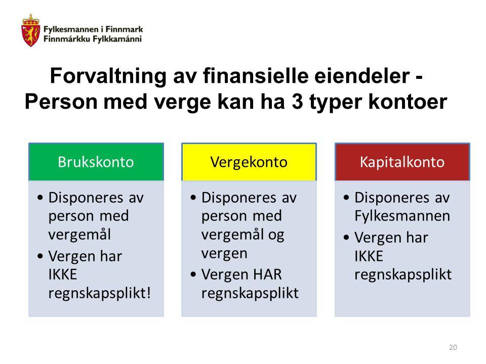 Forvaltning av finansielle eiendeler - Person med verge kan ha 3 typer kontoer Brukskonto Disponeres av person med vergemål Vergen har IKKE regnskapsp