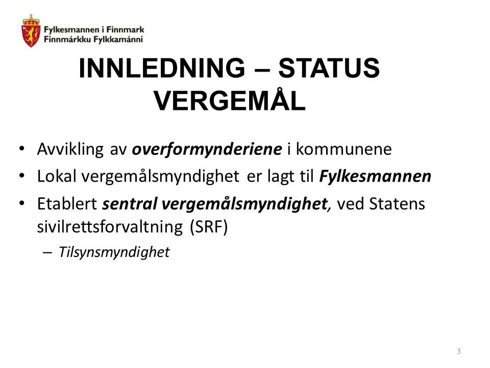 INNLEDNING – STATUS VERGEMÅL Avvikling av overformynderiene i kommunene Lokal vergemålsmyndighet er lagt til Fylkesmannen Etablert sentral vergemålsmy
