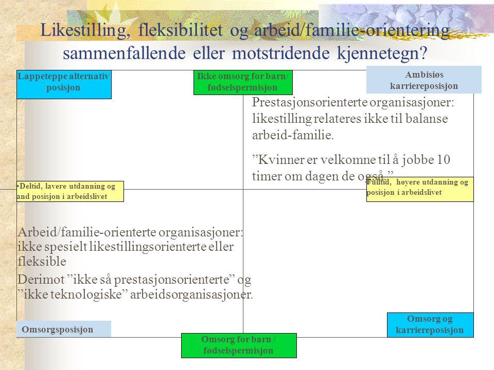 Likestilling, fleksibilitet og arbeid/familie-orientering sammenfallende eller motstridende kjennetegn.