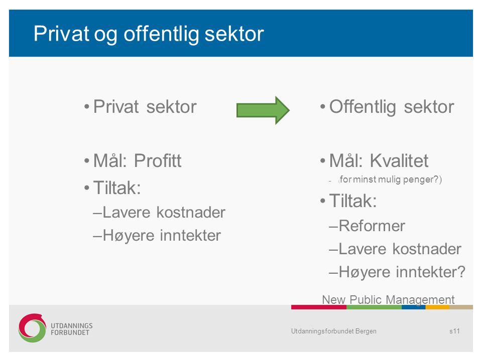 Privat og offentlig sektor Privat sektor Mål: Profitt Tiltak: –Lavere kostnader –Høyere inntekter Offentlig sektor Mål: Kvalitet –( for minst mulig pe