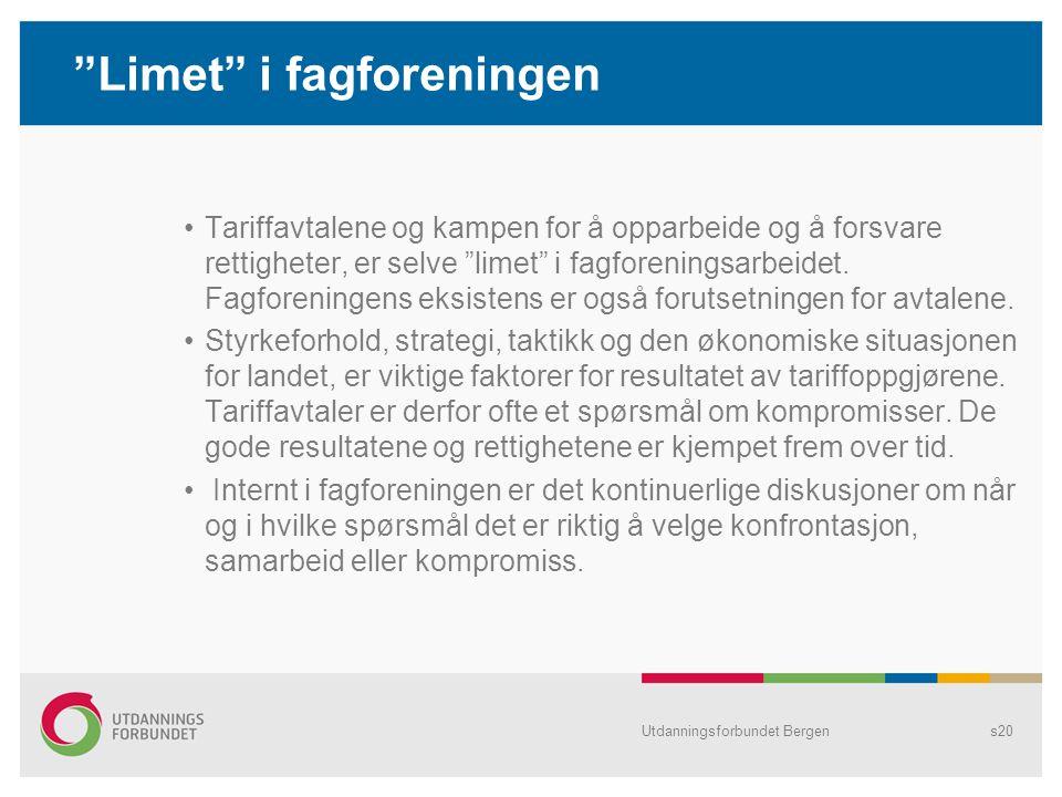 """Utdanningsforbundet Bergens20 """"Limet"""" i fagforeningen Tariffavtalene og kampen for å opparbeide og å forsvare rettigheter, er selve """"limet"""" i fagforen"""