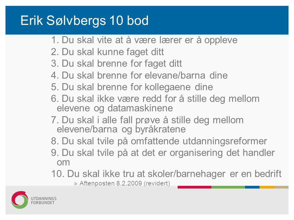 Erik Sølvbergs 10 bod 1. Du skal vite at å være lærer er å oppleve 2. Du skal kunne faget ditt 3. Du skal brenne for faget ditt 4. Du skal brenne for