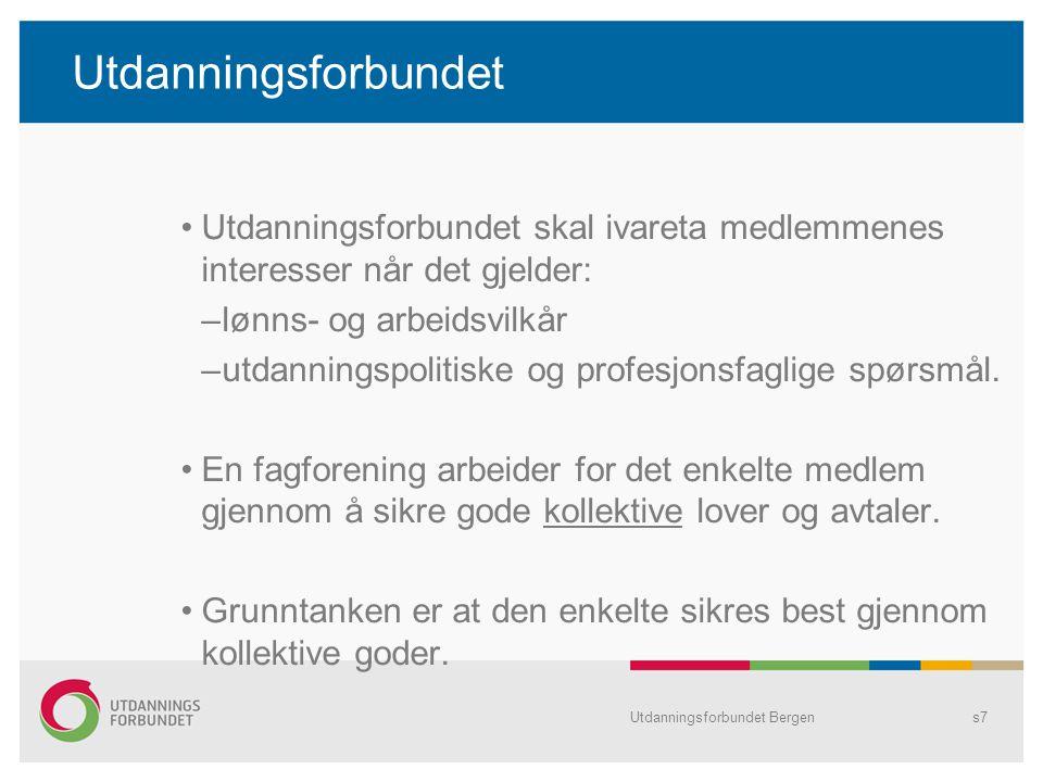 Utdanningsforbundet Bergens28 Vi trenger fagforeninga når..