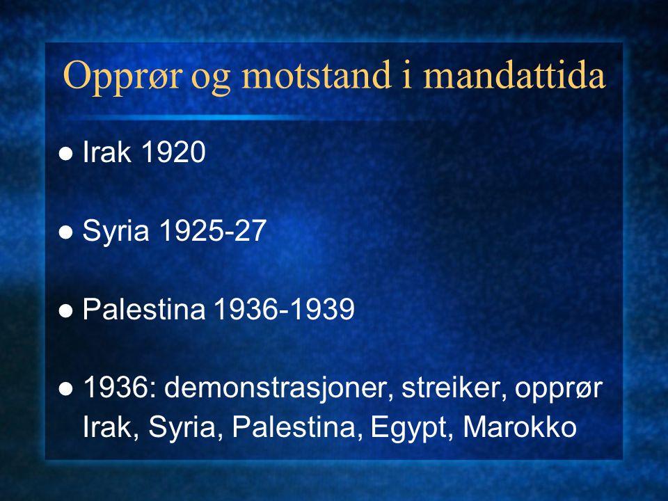 Opprør og motstand i mandattida Irak 1920 Syria 1925-27 Palestina 1936-1939 1936: demonstrasjoner, streiker, opprør Irak, Syria, Palestina, Egypt, Marokko