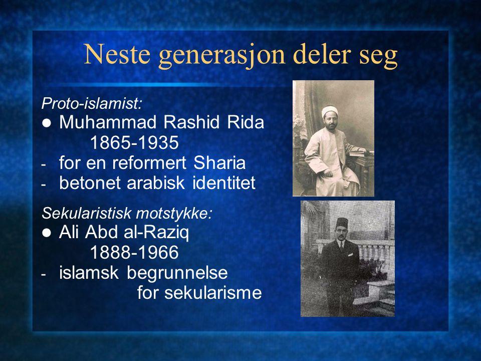 Neste generasjon deler seg Proto-islamist: Muhammad Rashid Rida 1865-1935 - for en reformert Sharia - betonet arabisk identitet Sekularistisk motstykk