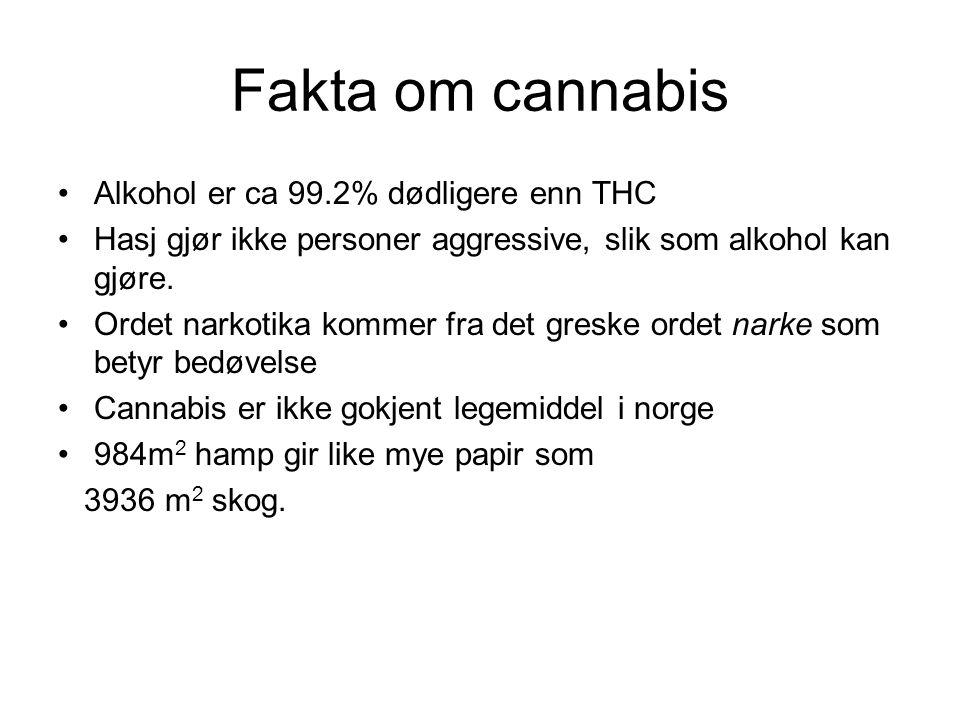 Fakta om cannabis Alkohol er ca 99.2% dødligere enn THC Hasj gjør ikke personer aggressive, slik som alkohol kan gjøre. Ordet narkotika kommer fra det